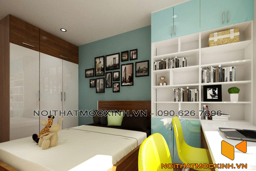 cải tạo phòng ngủ con trai chung cư cũ Linh Đàm