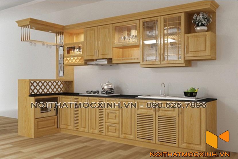 mẫu tủ bếp gỗ sồi nga