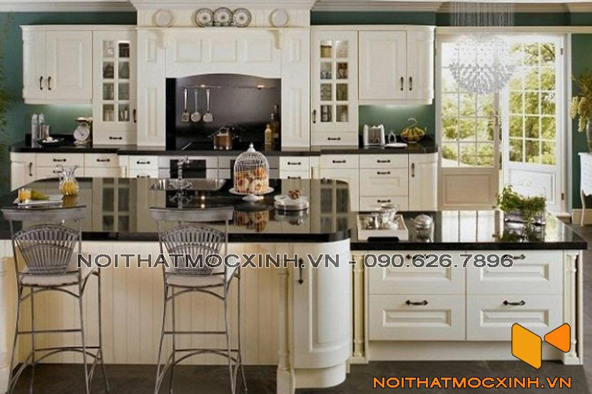 mẫu tủ bếp gỗ tự nhiên sơn màu