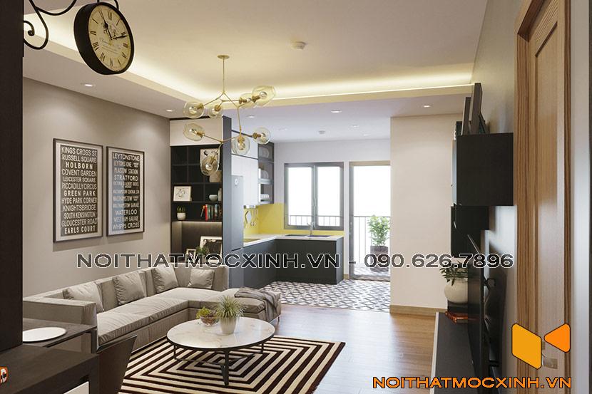 nội thất phòng khách chung cư CT2A Thạch Bàn 02