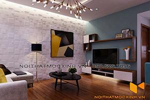 nội thất phòng khách sau cải tạo chung cư cũ Linh Đàm