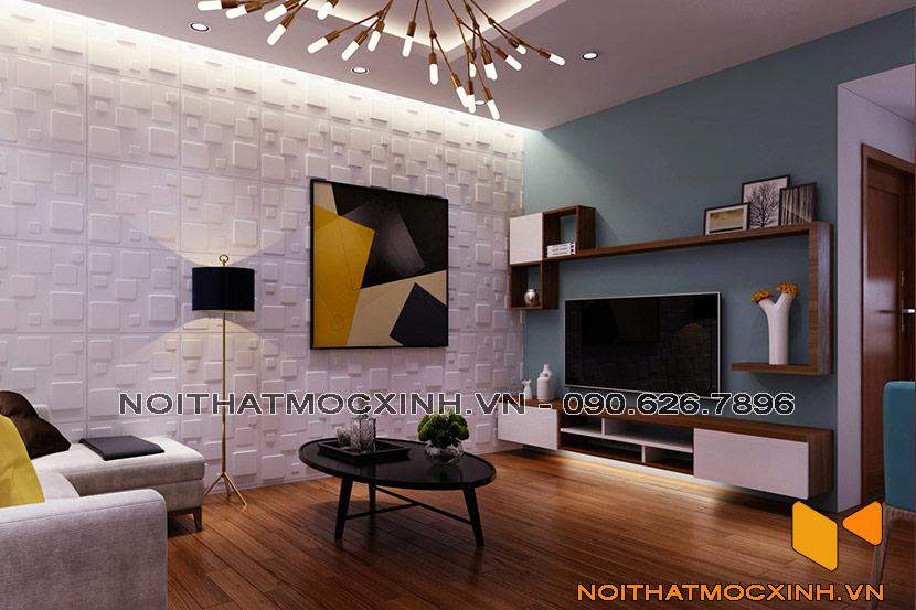 nội thất phòng khách sau khi cải tạo chung cư cũ Linh Đàm