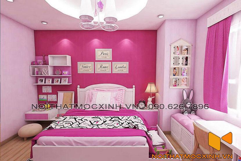 phòng ngủ con gái sắc hồng