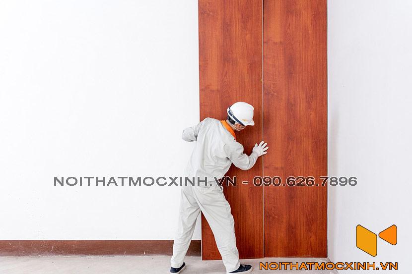 thi công vách tường showroom