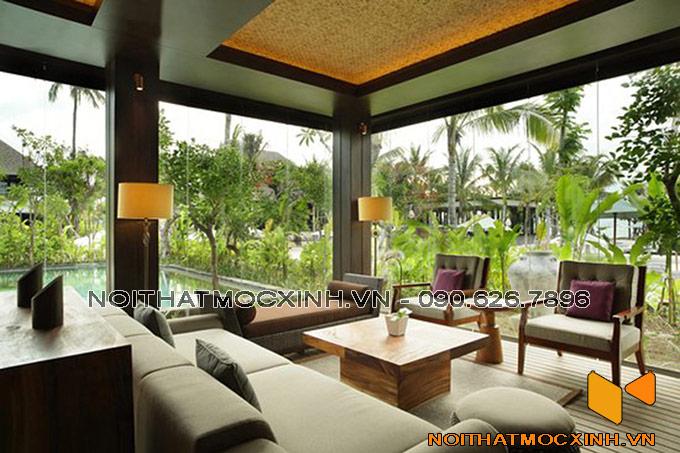 thiết kế nội thất phòng khách biệt thự hiện đại gần gũi thiên nhiên