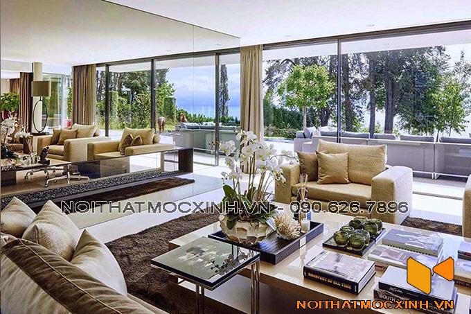 thiết kế nội thất phòng khách biệt thự hiện đại gắn kết thiên hiên