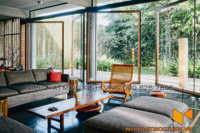 thiết kế nội thất phòng khách biệt thự hiện đại thoáng đãng
