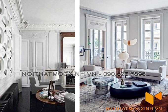 thiết kế nội thất phòng khách biệt thự tân cổ màu sáng