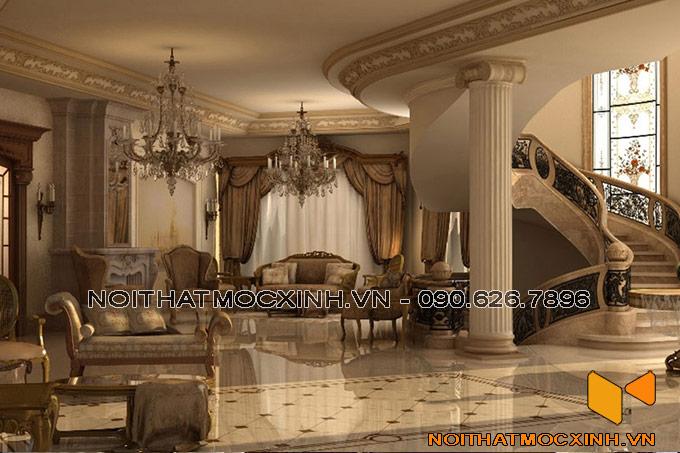 thiết kế nội thất phòng khách biệt thự tân cổ thang xoắn
