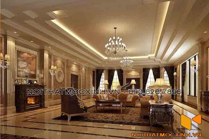 thiết kế nội thất phòng khách biệt thự tân cổ