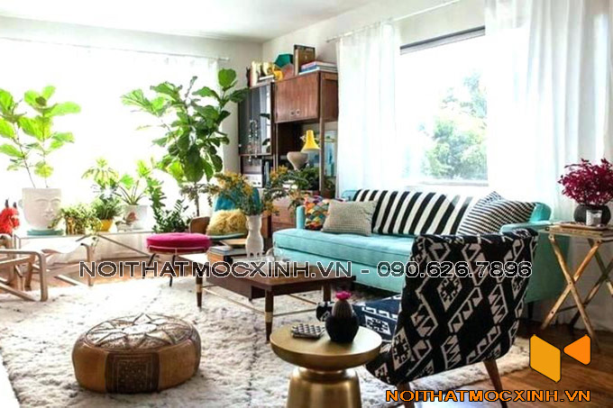 thiết kế nội thất phòng khách cá tính mạnh