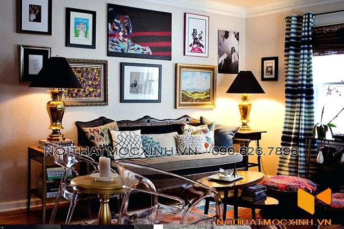 thiết kế nội thất phòng khách cá tính treo tranh