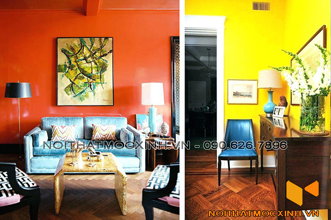 thiết kế nội thất phòng khách cá tính với gam màu nóng