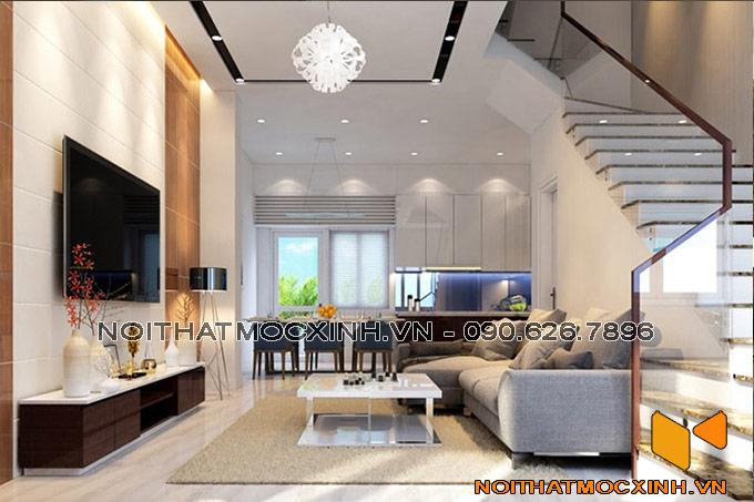 thiết kế nội thất phòng khách nhà phố nhẹ nhàng