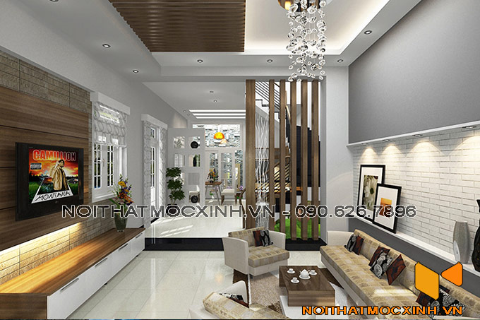 thiết kế nội thất phòng khách nhà phố tinh tế