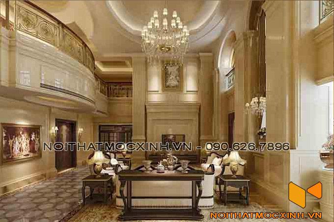 thiết kế nội thất phòng khách thông tầng