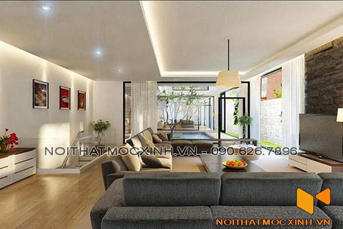 thiết kế nội thất phòng khách trên tầng 2 nhà phố