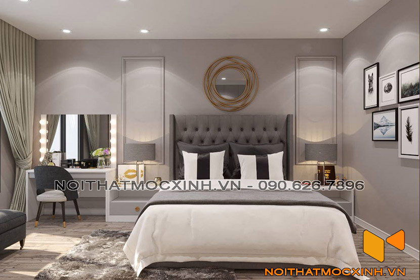 thiết kế nội thất phòng ngủ tân cổ điển đơn giản