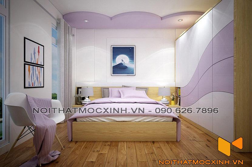 thiết kế phòng ngủ bé gái màu tím