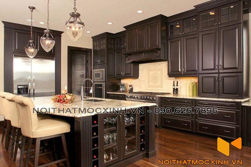 tủ bếp gỗ tự nhiên màu sẫm