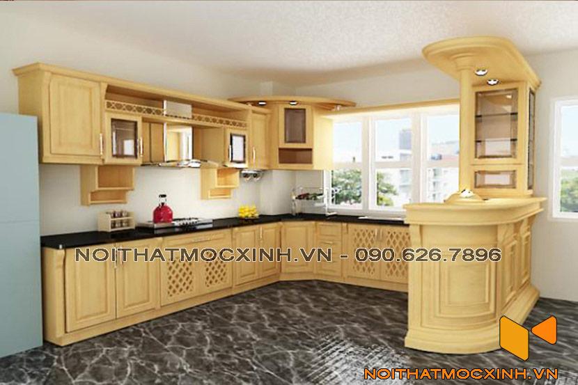 tủ bếp gỗ sồi màu sáng
