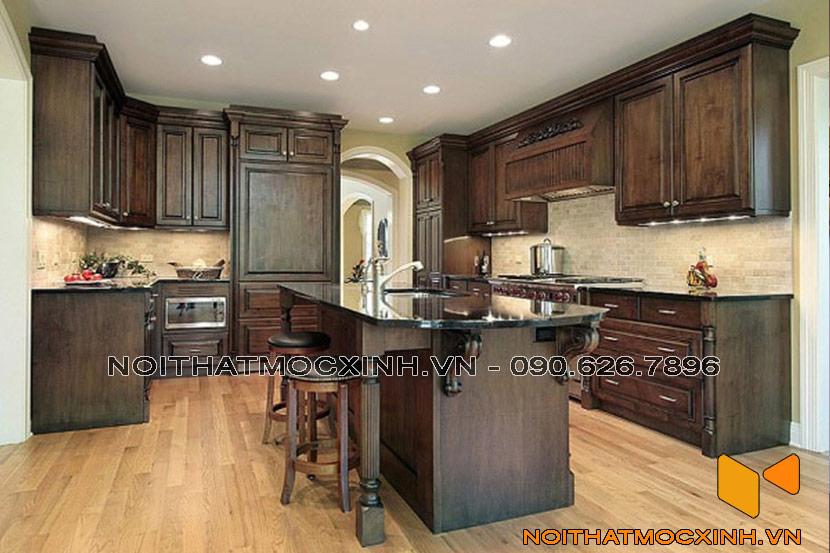 tủ bếp gỗ tự nhiên cổ điển