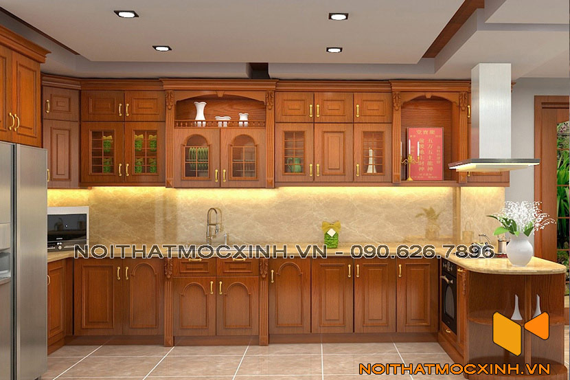tủ bếp gỗ tự nhiên gỗ xoan đào tân cổ
