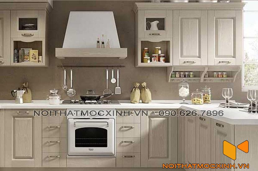 tủ bếp gỗ tự nhiên sơn trắng