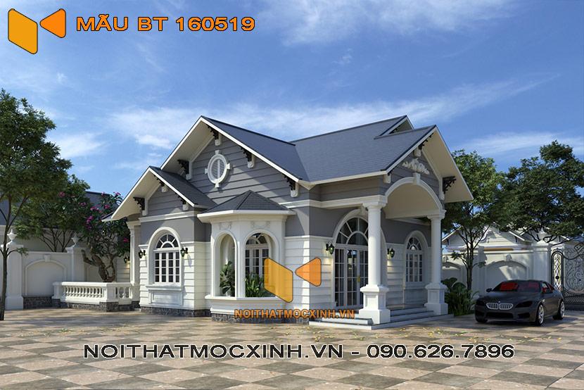biệt thự mái thái 1 tầng diện tích 130 m2