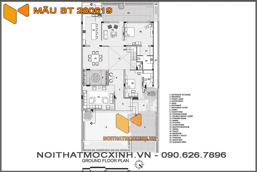 biệt thự 2 tầng hiện đại 14mx30m 280619 12