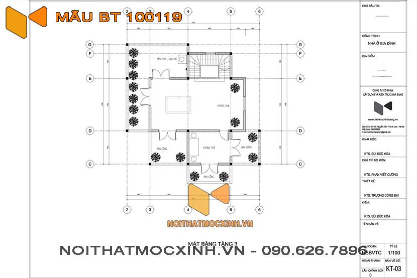 biệt thự 3 tầng mái thái 100119 04