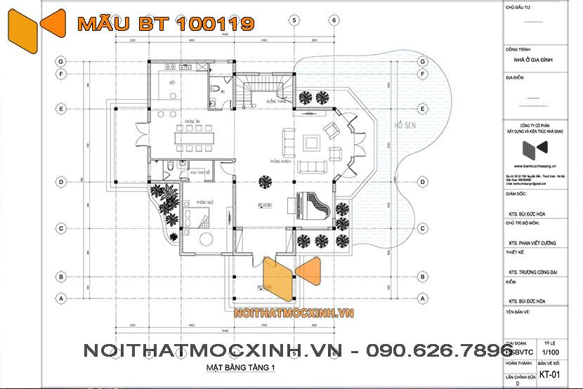 biệt thự 3 tầng mái thái 100119 16