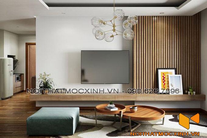 nội thất phòng khách làm bằng gỗ công nghiệp