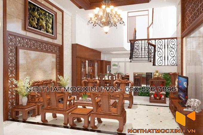nội thất phòng khách làm bằng gỗ tự nhiên