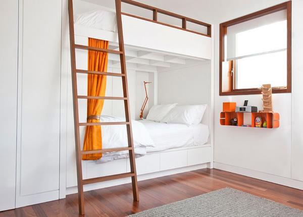 giường tầng đẹp sơn trắng tiết kiệm diện tích