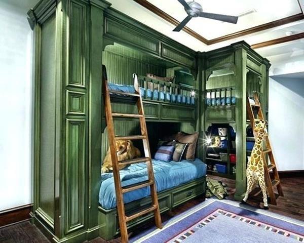 giường tầng đẹp sơn màu xanh rêu