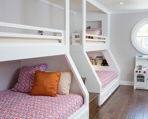 Giường tầng thiết kế phong cách tối giản màu trắng