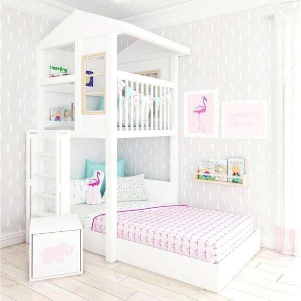 giường tầng màu trắng hồng cho bé gái