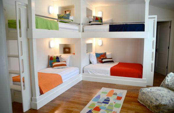 Giường tầng bằng gỗ tự nhiên sơn trắng đẹp nhiều màu sắc