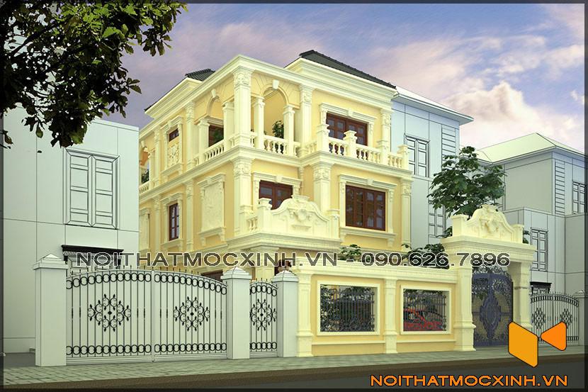 thiết kế thi công nội thất biệt thự tân cổ điển 3 tầng