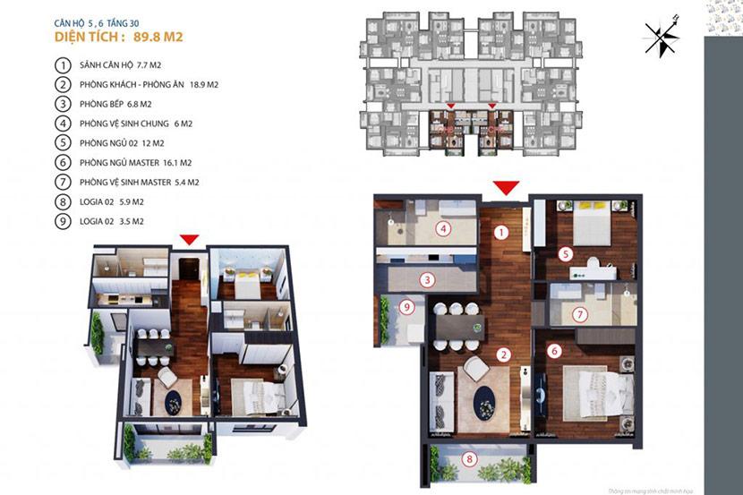 thiết kế thi công nội thất chung cư gold tower 275 nguyễn trãi 3