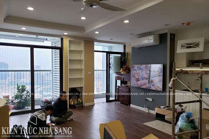 phá dỡ tường ngăn giữa bếp và phòng khách căn hộ chung cư