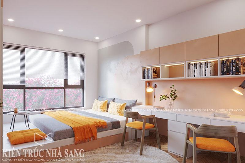 thi công nội thất phòng ngủ trẻ con bằng gỗ công nghiệp chống ẩm của An Cường