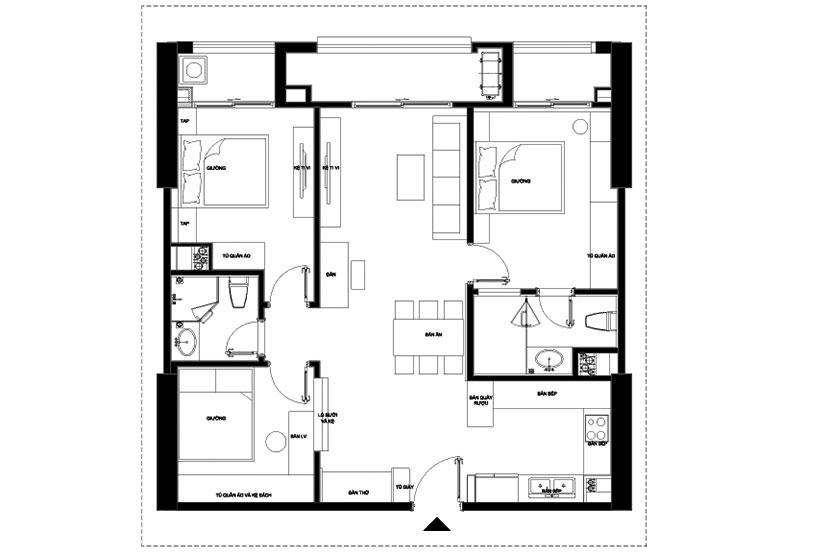 mặt bằng bố trí nội thất căn 3 phòng ngủ