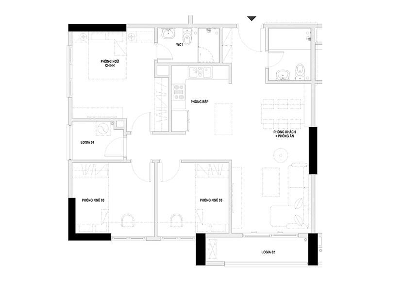 mặt bằng thiết kế căn hộ 3 phòng ngủ 92.4m2 chung cư Homeland Long Biên