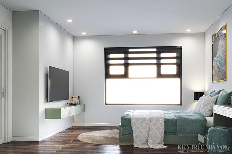 màu sắc tổng thể trong phòng ngủ được phối hợp từ tất cả các vật dung nội thất