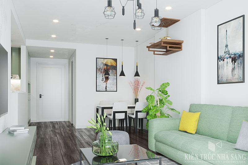 màu sắc xanh trong nội thất căn hộ thực sự tạo cảm giác thân thiện với thiên nhiên