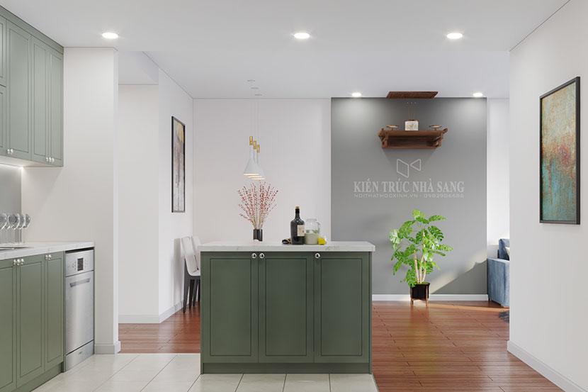 nội thất phòng bếp sử dụng màu xanh min cho các cặp vợ chồng trẻ