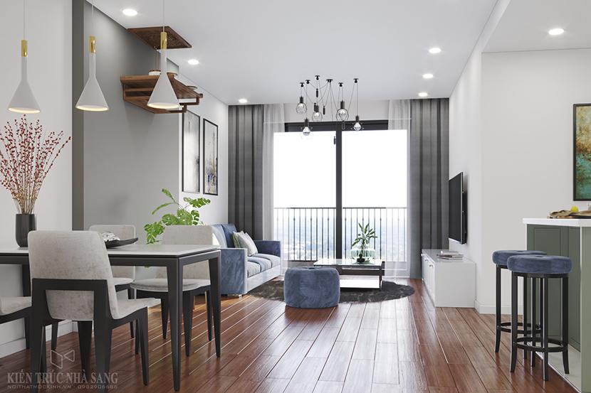 phòng khách căn hộ 3 phòng ngủ chung cư Homeland Long Biên