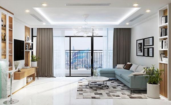 phòng khách chung cư sau khi cải tạo